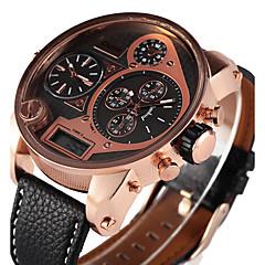 お買い得  大特価腕時計-Oulm 男性用 クォーツ リストウォッチ 軍用腕時計 LED 3タイムゾーン PU バンド ぜいたく カジュアル クール ブラック ブラウン