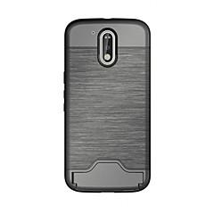Недорогие Чехлы и кейсы для Motorola-Кейс для Назначение Motorola Один плюс 3 Бумажник для карт со стендом Кейс на заднюю панель Сплошной цвет Твердый ТПУ для Мото G4 Plus