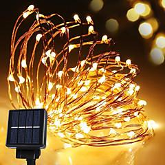 preiswerte LED Lichtstreifen-Solarenergie String Licht wasserdicht LED-Streifen 10m 100led Kupferdraht Lampe warmweiß für Outdoor-Dekoration Lichter