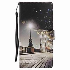 A Sony xperia xa ultra x teljesítményt hordtáska városi táj festett lanyard pu telefonos tok