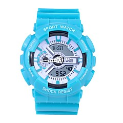 preiswerte Damenuhren-SANDA Sportuhr Smartwatch Armbanduhr Digital Japanischer Quartz 30 m Wasserdicht Chronograph LED Silikon Band Analog-Digital Freizeit Modisch Schwarz / Weiß / Blau - Goldenschwarz Schwarz / Blau Gold
