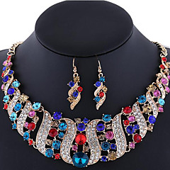 cheap Jewelry Sets-Women's Jewelry Set Earrings Statement Necklace Synthetic Gemstones Rhinestone Imitation Diamond Rose Gold Plated Alloy Jewelry Luxury