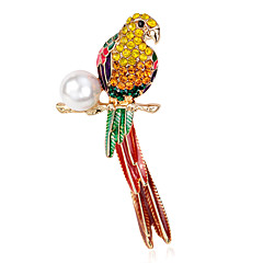 cheap Brooches-Women's Brooches - Pearl Flower, Parrot Luxury Brooch Rainbow For Party / Daily / Casual