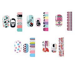 14pcs mooie cartoon stijl nail art stricker d serie no.1-5 (assorti patroon)