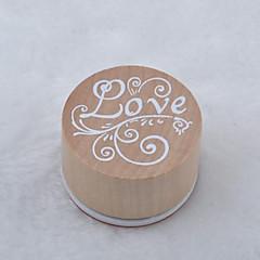 patrón de la vendimia palabra floral ronda sello de goma de madera (el amor)