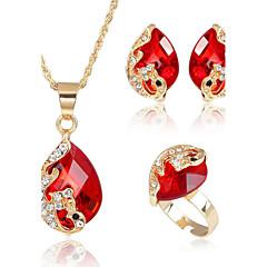 Dames Sieraden Set Kristal Bergkristal Kostuum juwelen Legering Pauw 1 Ketting 1 Paar Oorbellen Ringen Voor Feest Dagelijks Causaal