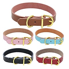 Dog Collar Adjustable / Retractable Soft Handmade Solid Christmas Genuine Leather Black Brown Red Blue Pink