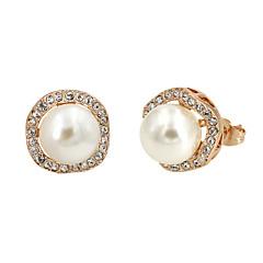 Kolczyki na sztyft Pearl imitacja Cyrkonia Modny Perłowy Pozłacane Gold Silver Gray Biżuteria Na Impreza Codzienny 1 para
