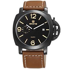 お買い得  メンズ腕時計-男性用 リストウォッチ クォーツ 30 m 耐水 カレンダー クール レザー バンド ハンズ ファッション ブラック / ブラウン - コーヒー Black / Brown Brown