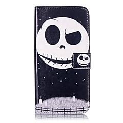 Mert Kártyatartó Pénztárca Állvánnyal Flip Case Teljes védelem Case Koponya Kemény Műbőr mert AppleiPhone 7 Plus iPhone 7 iPhone 6s
