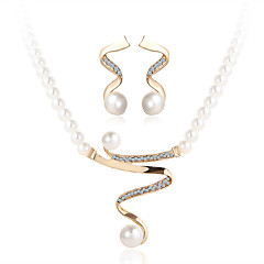 cheap Women's Jewelry-Crystal Jewelry Set - Pearl, Imitation Pearl, Rhinestone Luxury Include Gold For Wedding / Party / Casual / Imitation Diamond