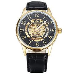 Heren Sporthorloge Modieus horloge Polshorloge mechanische horloges Handmatig opwindmechanisme Echt leer Band Vintage Vrijetijdsschoenen
