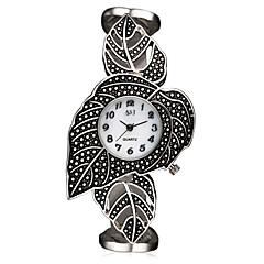 お買い得  メンズ腕時計-ASJ 女性用 リストウォッチ 日本産 クォーツ 30 m 耐水 耐衝撃性 合金 バンド ハンズ チャーム ぜいたく 葉っぱ チタン - ホワイト