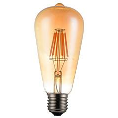 cheap LED Bulbs-1pc 600lm E26 / E27 LED Filament Bulbs ST64 6 LED Beads COB Decorative Warm White 85-265V