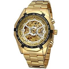 preiswerte Tolle Angebote auf Uhren-FORSINING Herrn Armbanduhr Mechanische Uhr Automatikaufzug Transparentes Ziffernblatt Edelstahl Band Analog Luxus Modisch Gold - Gold Weiß Schwarz