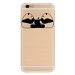 Недорогие Кейсы для iPhone-Кейс для Назначение Apple iPhone 6 iPhone 7 Plus iPhone 7 Ультратонкий С узором Кейс на заднюю панель Композиция с логотипом Apple Панда