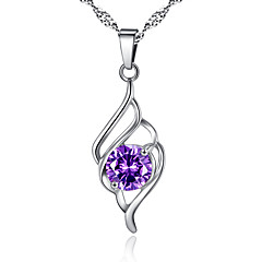 Women's Pendant Necklaces AAA Cubic Zirconia Geometric Alloy Personalized Silver Purple Jewelry For Daily 1pc