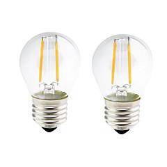 お買い得  LED 電球-ONDENN 2pcs 2W 200lm E26 / E27 フィラメントタイプLED電球 G45 2 LEDビーズ COB 調光可能 温白色 110-130V 220-240V