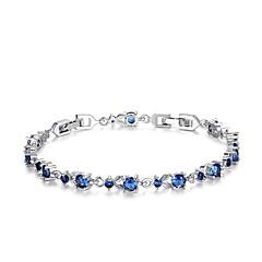 Női Lánc & láncszem karkötők Cirkonium Kocka cirkónia utánzat Diamond Divat Flower Shape Arany Ezüst Bíbor Piros Kék Ékszerek 1db