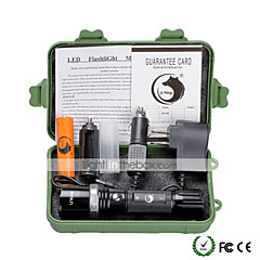 U'King LED-Zaklampen LED 2000 lm 5 Modus Cree XM-L T6 inklusive Batterie und Ladegeräten Zoombare Verstelbare focus Dimbaar