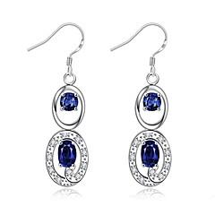preiswerte Ohrringe-Damen Kristall / Kubikzirkonia Tropfen-Ohrringe - Zirkon, Kubikzirkonia, versilbert Purpur / Rot / Blau Für Alltag / Normal