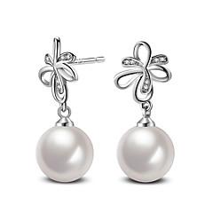 2017 Fashion 925 Sterling Silver White Pearl Push-Back Stud Earrings Wedding Jewelry For Women