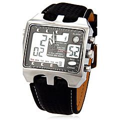 preiswerte Tolle Angebote auf Uhren-JUBAOLI Herrn Sportuhr Großes Ziffernblatt Leder Band Charme Schwarz