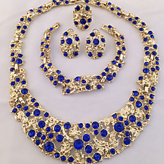 Női Ékszer készlet Gyűrű Nyilatkozat nyakláncok Karkötő Fülbevaló Egyedi jelmez ékszerek Divat Személyre szabott Afrika Kristály Strassz