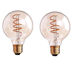 halpa LED-lamput-ONDENN 2pcs 4W 400-500lm E26 / E27 B22 LED-hehkulamput G80 1 LED-helmet COB Himmennettävissä Lämmin valkoinen 110-130V 220-240V