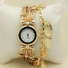 お買い得  レディース腕時計-女性用 リストウォッチ ブレスレットウォッチ クォーツ ラインストーン 模造ダイヤモンド レザー バンド 葉っぱ レッド グリーン ゴールド