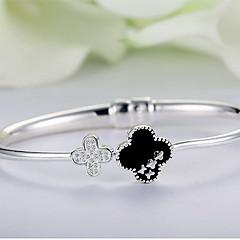 Браслет цельное кольцо Природа Мода Стерлинговое серебро В форме цветка Четырехлистный клевер Бижутерия Назначение