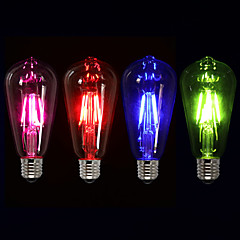 1pcs Colorama ST64 4W Led Filament Light Green/Blue/Red/Pinkish Purple Color Fireworks Lamp 220--240V