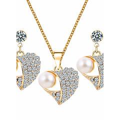 Dames Sieraden Set Bergkristal Basisontwerp Kostuum juwelen Imitatieparel Strass Legering Hartvorm 1 Ketting 1 Paar Oorbellen Voor
