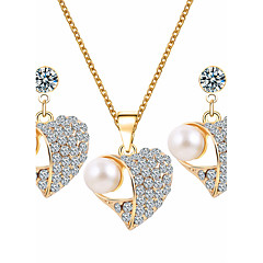 Women's Jewelry Set Rhinestone Basic Costume Jewelry Imitation Pearl Rhinestone Alloy Heart 1 Necklace 1 Pair of Earrings For Wedding