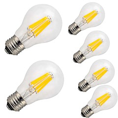 cheap LED Bulbs-6pcs 9W 1100lm E26 / E27 LED Filament Bulbs A60(A19) 12 LED Beads COB Decorative Warm White Cold White 220-240V