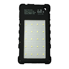 21LED 8000mAh Waterproof Power Bank with Currency Inspection Light Camping Lamp Solar Recharger for Mobile Phone