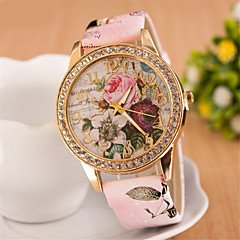 cheap Floral Watches-Women's Simulated Diamond Watch Wrist watch Dress Watch Fashion Watch Quartz Imitation Diamond PU Band Flower White Red Pink