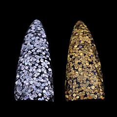 abordables Expositores y Decoraciones-1pc el nuevo hexágono láser oro y plata lentejuelas