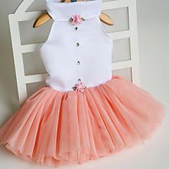 저렴한 -고양이 강아지 드레스 강아지 의류 귀여운 프린세스 오렌지 퓨샤 그린 핑크 코스츔 애완 동물