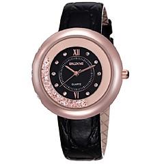 お買い得  レディース腕時計-女性用 ドレスウォッチ クォーツ 30 m 模造ダイヤモンド 本革 バンド ハンズ チャーム 光沢タイプ ブラック / 白 / レッド - ブラック レッド ピンク