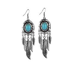 Χαμηλού Κόστους Σκουλαρίκια-Κρεμαστά Σκουλαρίκια Τιρκουάζ Ρητίνη Επάργυρο Κράμα Πεπαλαιωμένο Εξατομικευόμενο Euramerican Φούντες Φτερά / Φτερό Κοσμήματα Μπλε