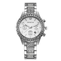 Χαμηλού Κόστους Γυναικεία ρολόγια-Geneva Γυναικεία Χαλαζίας Ρολόι Καρπού απομίμηση διαμαντιών κράμα Μπάντα Λάμψη / Μοντέρνα Ασημί / Χρυσό