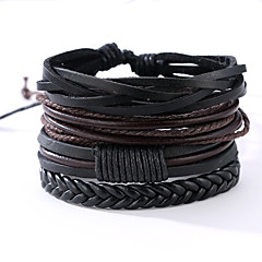 cheap Men's Jewelry-Men's Leather Bracelet Vintage Punk Leather Round Jewelry Anniversary Gift Sports Valentine Costume Jewelry