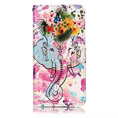 Недорогие Кейсы для iPhone 6 Plus-Кейс для Назначение Apple Кошелек со стендом Флип Рельефный С узором Магнитный Чехол Слон Твердый Искусственная кожа для iPhone 7 Plus