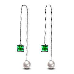 Herre Dame Stangøreringe Imiteret Perle Mode Hypoallergenisk minimalistisk stil Klassisk Elegant kostume smykker Sølvbelagt Line Smykker