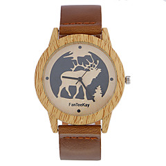 お買い得  メンズ腕時計-男性用 リストウォッチ 中国 クール / 木製 レザー バンド カジュアル / ウッド ブラック / ブラウン / カーキ