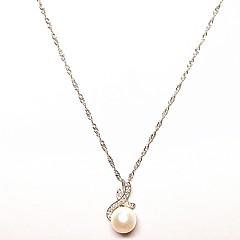 お買い得  ネックレス-女性用 真珠 ペンダントネックレス  -  真珠, 純銀製 ユニーク, ぶら下がり式 ホワイト ネックレス 用途 クリスマスギフト, 誕生日, 贈り物
