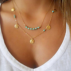 cheap Necklaces-Women's Turquoise Gold Plated Turquoise Pendant Necklace - Personalized Basic Fashion Double-layer Jewelry Silver Golden Necklace For
