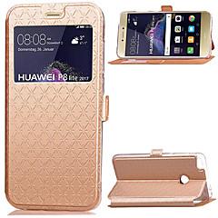 Χαμηλού Κόστους Θήκες / Καλύμματα για Huawei-Για huawei p8 lite (2017) p8 lite κάλυμμα κατόχου κάρτας με βάση με παράθυρα flip πλήρες σώμα στερεό χρώμα σκληρό δέρμα pu