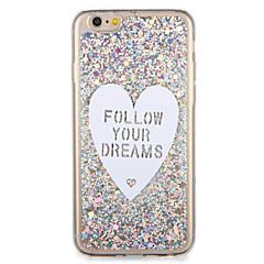 billige Etuier til iPhone 6s-Etui Til Apple iPhone 7 Plus iPhone 7 Mønster Bagcover Ord / sætning Hjerte Glitterskin Blødt TPU for iPhone 7 Plus iPhone 7 iPhone 6s